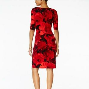 Floral-print Faux-wrap Red/Black Work/Office Dress
